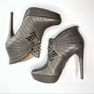 Elie Tahari Bria Gray Bootie Heel 100% Leather 8.5